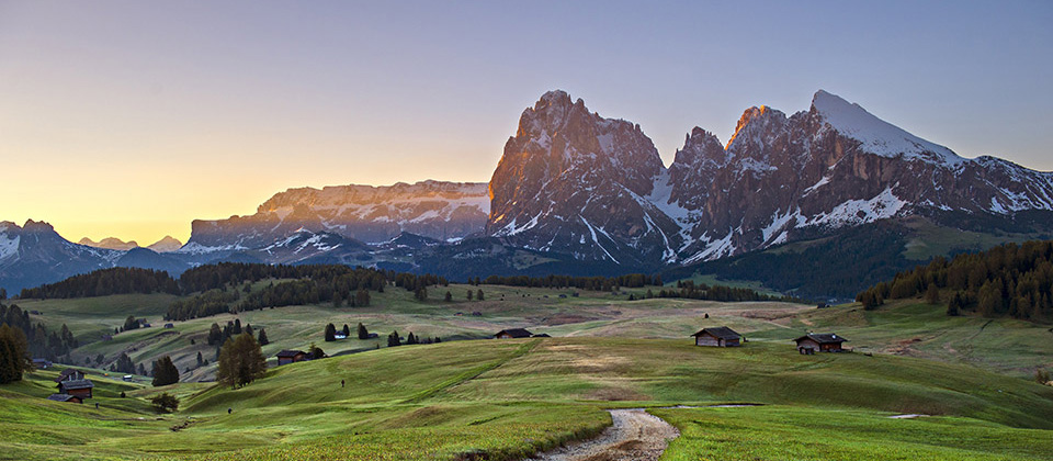 Sunset in the Seiser Alm with the beautiful Dolomites in the background