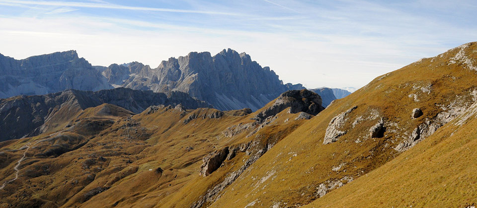 View of the Odle group mountains in Plan de Corones, South Tyrol