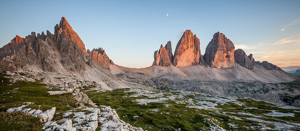 Sunset on the Tre cime di Lavaredo covering the peaks in rose