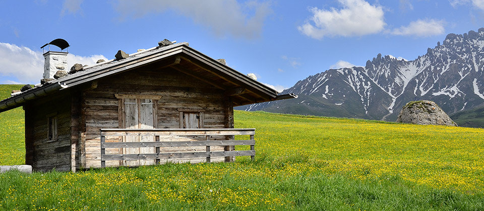 Single wooden alpine hut on a grass field in the Alpe di Siusi