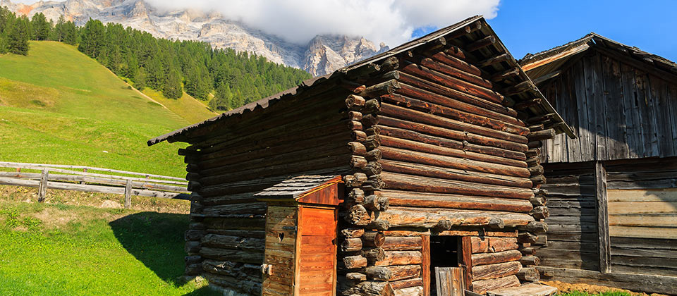 Alpine hut in Alta Badia near the small town of San Cassiano