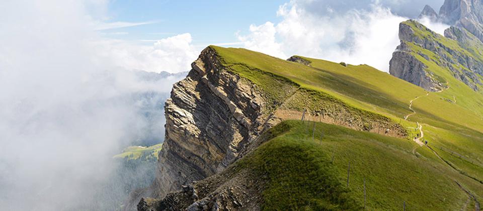 Vista scenografica delle Dolomiti in Val Gardena