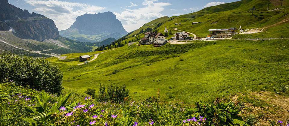 An alpine hut near Passo Gardena in Val Gardena