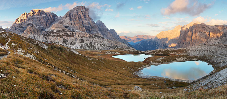 A view of the Piano lake as part of the Tre Cime di Lavaredo