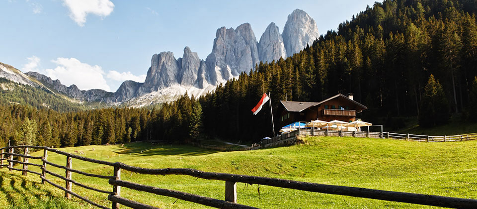 A wonderful view of the Dolomites from the city of Funes above Bressanone
