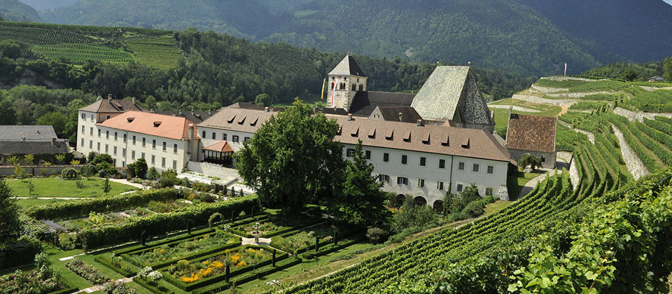 The monastery of Novacella near Bressanone between vines
